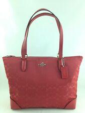 New Authentic Coach F73184 Signature Nylon Zip Tote Handbag Purse True Red