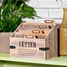 Vintage Wooden 3 Compartment Letter Storage Rack Tray Desk Organiser iPad Holder