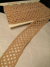 BTY Beige Silk Crepe Trim 2-in wide Trimming Notions Flat Open Weave Braid