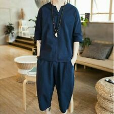 Vintage Men Chinese Style Suit Linen Loose Summer Youth T-shirts+Shorts 2Pcs New
