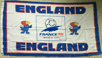 Vintage England Football World Cup - France 98 Textile Flag Three Lions Soccer