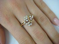14K YELLOW GOLD BEAUTIFUL LADIES  0.45 CT DIAMOND COCKTAIL RING,3.7 GRAMS,SIZE 8