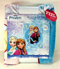 "NEW Disney FROZEN Elsa & Anna Silky Soft THROW BLANKET 40"" x 50"" Light Blue"
