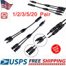 Pair/Set Solar Panel MC4 Y Branch 30A Connector Cable FFM MMF PV Wire T Splitter