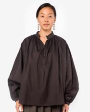 Black Crane Balloon Cotton Long Sleeves Brown Blouse Size S NWOT