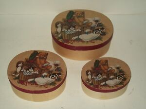 Set of 3 Oval Wood Nesting Boxes~Animals~Bear/Dog/Cats/Geese/Lamb/Red Bird & Cow