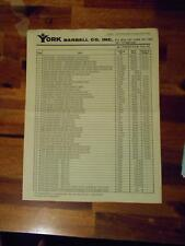 YORK BARBELL COMPANY Gym Equipment products ORIGINAL Price List (4 pages) 1-79