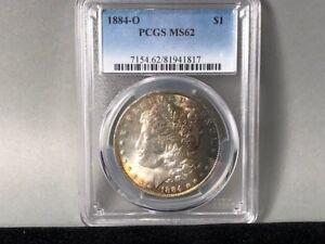1884-O PCGS MS 62 Morgan Silver Dollar! Original Toning, Little Rainbow!