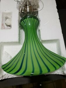 Italian Art Glass  Pendent ceiling Lamp Blue /  Green Striped Murano Style