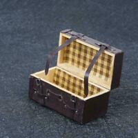 Fashion Vintage 1:12 Dollhouse Miniature Leather Wood Suitcase Mini Luggage F1C7