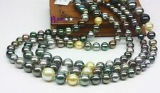 """HUGE 50""""9-12MM NATURAL SOUTH SEA GENUINE BLACK GOLD GRAY ROUND PEARL NECKLACE"""