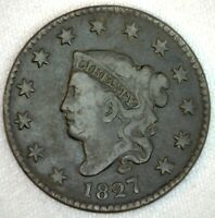 1827 Coronet Head US One Cent Penny Coin 1c Large Cent Copper Coin Fine