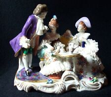 Antique Volkstedt Dresden Porcelain Group Tea Time Figurine Two Ladies One Man