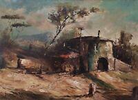 Vecchio Dipinto Olio su tela Paesaggio montuoso firmato Aldo Gambardella 1967