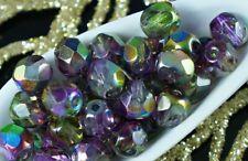 "Czech Glass Beads 6mm Faceted Round Magic Purple - 5.75"" (25PCS) UK EBAYER (BG2)"