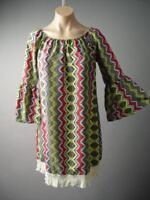Tribal Chevron Vtg-y 60s 70s Hippie Folk Boho Bell Sleeve Fringe 131 ac Dress M