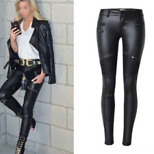 New Sexy Faux Leather Skinny Pants High Waist Stretch Jeans Slim Pencil Trousers