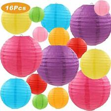 Lurico 16 Pcs Colorful Paper Lanterns (Multicolor,Size of 4, 6, 8, 10) - Chines