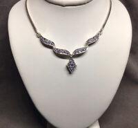 "VTG Marked K 925 Sterling Silver Purple Lab-Diamonds Choker Collar Necklace 16"""