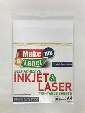 White Kraft Paper A4 Self Adhesive Sticky Sticker Labels Inkjet Laser Printers