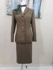 LE SUIT Women 2PC Elegant Green Brown Skirt Suit Size 8