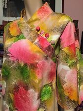 Vintage 1960s CHARLOTTA by GLAZIER HAWAIIAN FLORAL Cotton Gown Bell Sleeves