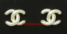 AUTHENTIC CHANEL CC Logo Earrings Pearl Gold Pierced New 2017 SPRING $625