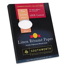 Southworth 100% Cotton Linen Resume Paper Blue 32 lbs. 8-1/2 x 11 100/Box