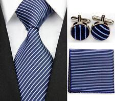 Blue 100% Pure Silk Neck Tie Cuff-links &Handkerchief Set White Diagonal Stripes