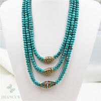 Natural Turquoise Nepal Multiple Circles Necklace 18-20inch Personality Jewelry