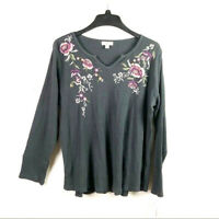 Style & Co Womens 1X Gray Floral Embroidered Long Sleeve Thermal Knit Top NEW