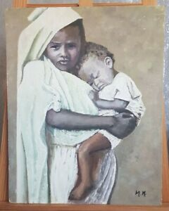 Black African Culture Woman Holding Child Oil Painting