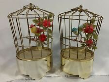Vintage Bird in a Metal Cage Music Box Mid Century Decoration Set of 2