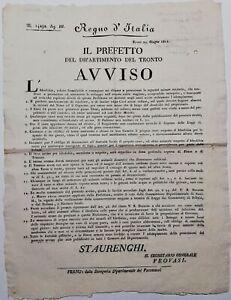 Bando Regno d'Italia Idrofobia regolamento e disposizioni e per i cani 1812