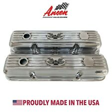 Ford FE 390 American Eagle Finned Short Valve Covers - Polished - Ansen USA