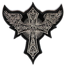 Embroidered Small Gothic Cross Wings Iron on Sew on Biker Patch Badge