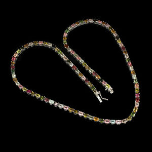 Unheated Oval Tourmaline Multi-Color 5x3mm 925 Sterling Silver Necklace 18 Ins