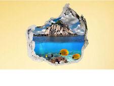 3D Wandsticker Wandtattoo Unterwasser Fische Karibik Fototapete 100 x 100 cm