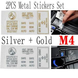 Jinming M4A1 Gel Blaster Metal Stickers Gold Silver Set of 2PC for CS M4 Toy Gun