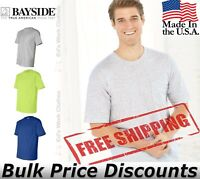 Bayside Mens Blank USA-Made Short Sleeve T Shirt with a Pocket 7100 up to 3XL