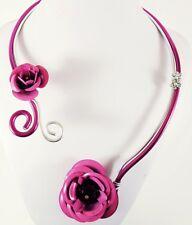 Collier mariage, fil aluminium rose, argenté fleurs perle strass bijou fantaisie