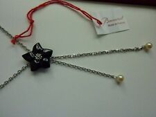 Beautiful  Baccarat Onyx Pearls Blossom Flower Solid Silver Necklace