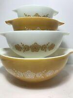 VTG Pyrex Corning Mixing Bowls 441 442 443 444 Butterfly Gold Cinderella Nesting