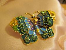 Enamel Rhinestone Butterfly Brooch Pin Vtg Retro 60s Psychedelic Style Designer