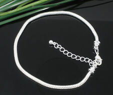 """Silver Snake Chain Lobster Clasp Bracelet For European Beads 6.3""""-9"""" Classic New"""