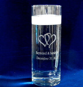Personalized Glass Unity Candle vase with Floating Candle and double heart art