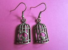 Pretty Bronze Bird in a Cage BirdCage Charm Earrings New Stocking Filler