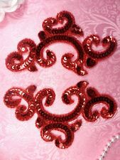 "0242 Red Appliques Mirror Pair Sequin Beaded 6"" Set Duo Couple Two"