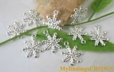 60pcs Bright Silver plated snowflake charms Pendants FC8158