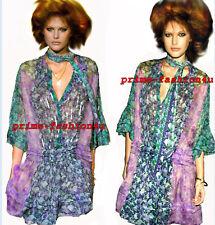 Roberto Cavalli Bell Sleeves Floral Print Silk Chiffon Sequined Tunic Dress